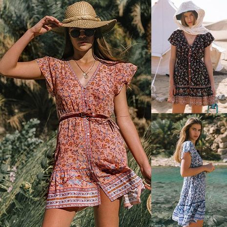 New beach skirt printed single-breasted V-neck short sleeve bohemian women's dress wholesale NHDF197585's discount tags
