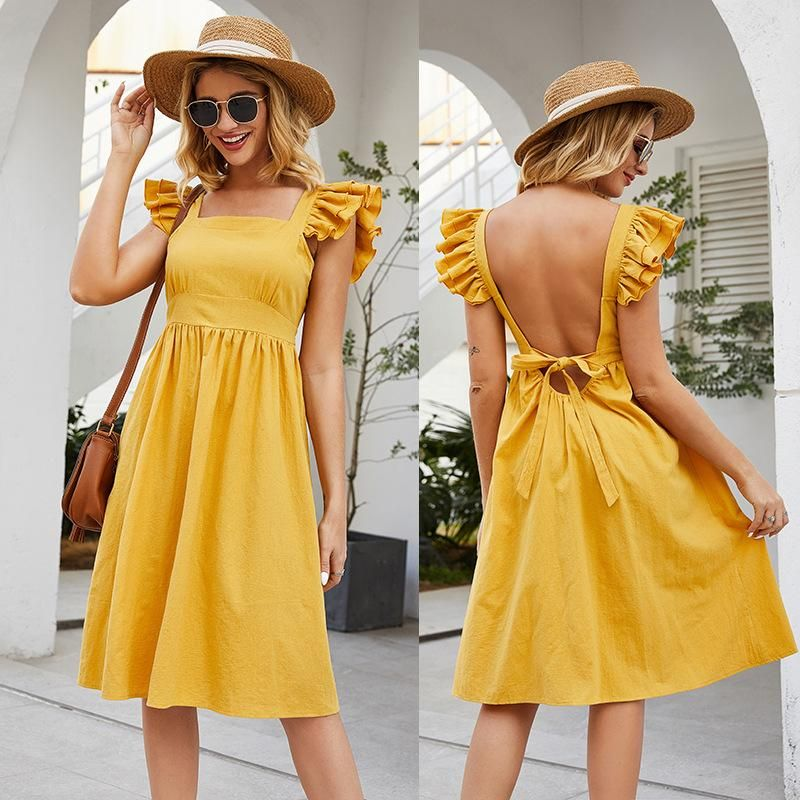 New sleeveless stitching ruffle sleeve square collar solid color open back lace dress NHDF197588