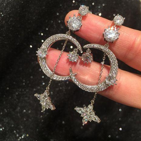 Pendientes de estrella de luna de moda borla larga femenina S925 aguja de plata pendientes de luna exagerados retro NHWK197592's discount tags