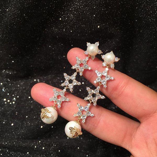 Fashion S925 Silver Pin Micro Inlaid Zircon Star Earrings Long Pearl Tassel Retro Little Bee Earrings NHWK197593