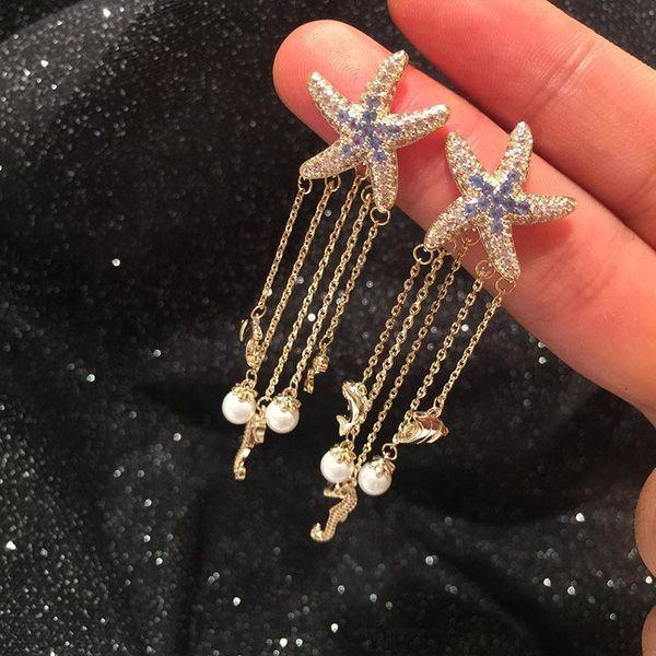 Moda S925 Aguja de plata Color de borla larga coreana Pendientes de estrella de mar Pendientes de pez caballito de mar NHWK197595