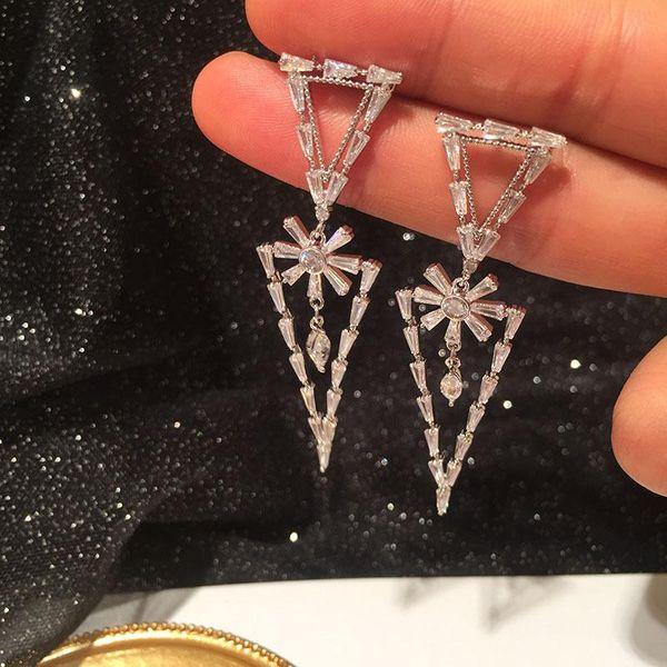 Fashion S925 Silver Pin Geometric Triangle Earrings Flower Long Tassel Earrings NHWK197598