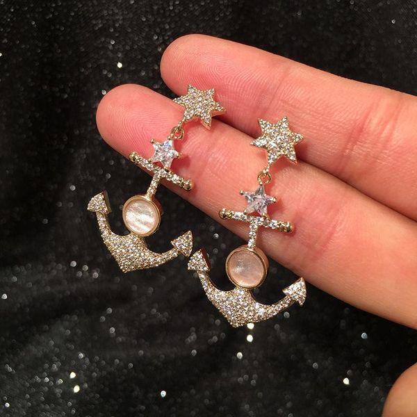 Fashion S925 Silver Needle Eight Mount Star Anchor Earrings Sweet Shell Star Earrings NHWK197600