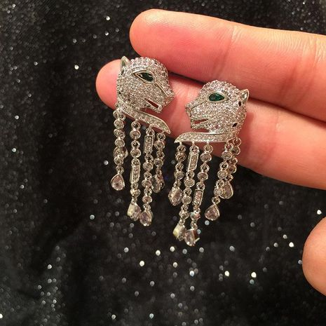 Fashion cartoon animal earrings retro long fringe earrings NHWK197601's discount tags