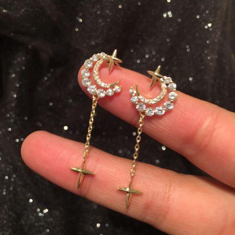 Fashion Star Moon Earrings Pendientes nuevos pequeños y simples NHWK197602's discount tags