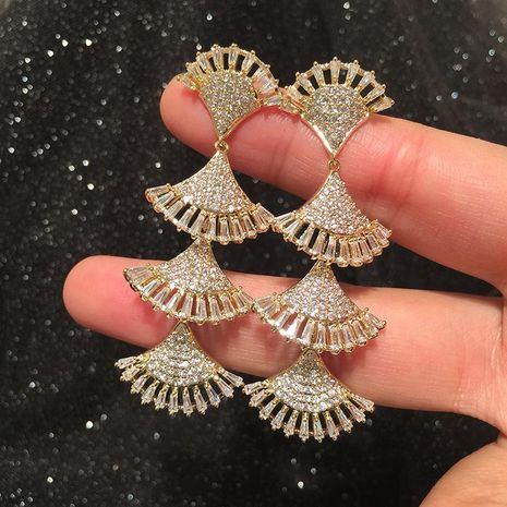 Pendientes de abanico de moda borla larga femenina sS925 pendientes de borla de flores huecas exageradas de plata NHWK197604's discount tags