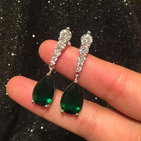 Fashion Drop Earrings Emerald S925 Silver Vintage Earrings NHWK197605's discount tags
