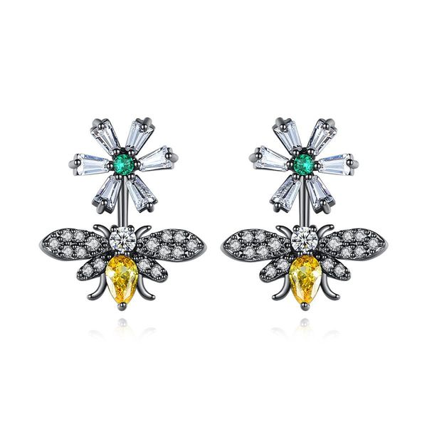Fashion Flower Bee Earring Fashion Korean Creative Bee Pendant Earrings Sweet Banquet Earrings NHTM197296