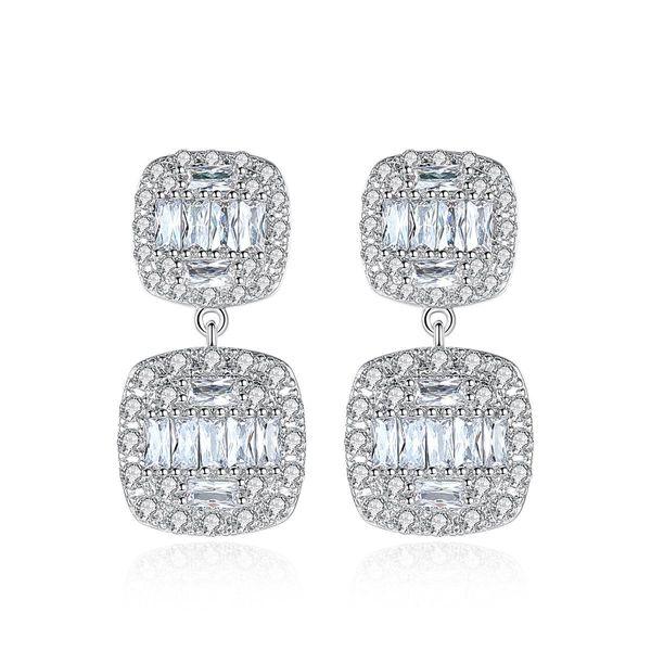 Fashion earrings simple new earrings square copper inlaid zirconium earrings NHTM197294