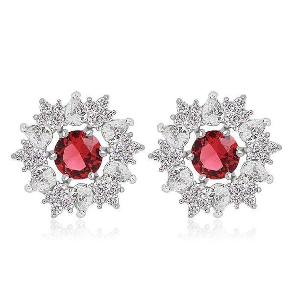 Fashion stud earrings AAA zircon delicate dazzling Korean earrings NHTM197304