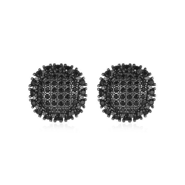 Fashion stud earrings simple pavé zircon round earrings wholesale NHTM197301