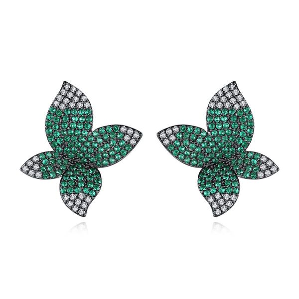 Fashion Studs Fashion Korean New Floral Lady Copper Inlaid Zirconium Earrings Wholesale NHTM197299