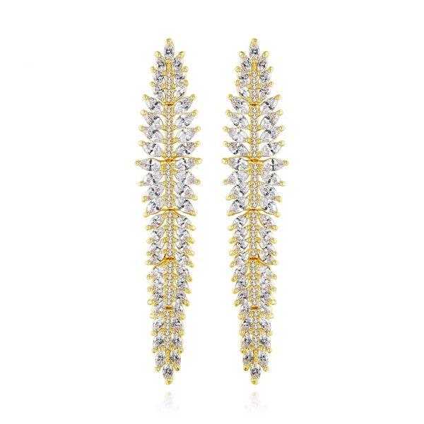 Fashion earrings fashion copper studded zircon long banquet earrings wholesale NHTM197300