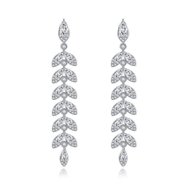 Fashion Willow Leaf Studs Korean New Copper Inlaid Zircon Earrings Long Leaf Earrings NHTM197302