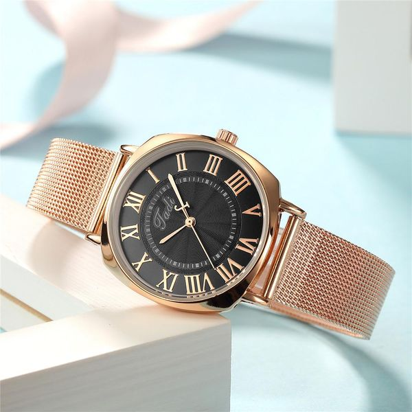 Fashion Simple Roman Scale Ladies Mesh Band Watch Rose Gold Band Quartz Women's Fashion Watch NHSY197613