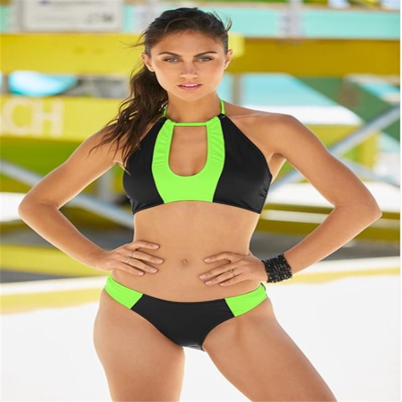 Color stitching new women's bikini sexy swimsuit split solid color swimsuit NHHL197670