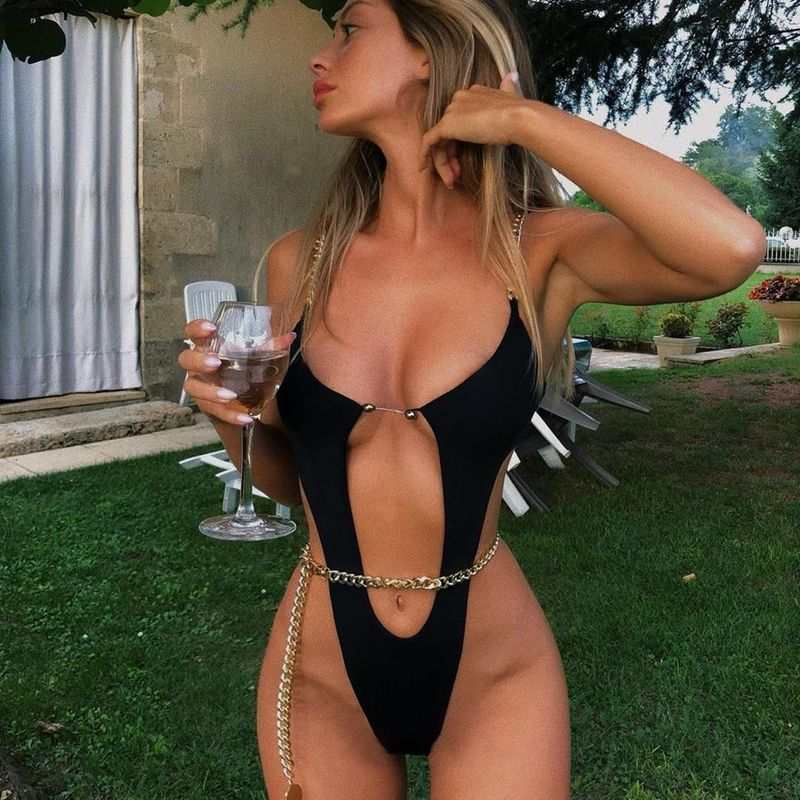 The new one-piece swimsuit chain one-piece bikini explosion models sexy swimsuit NHHL197688