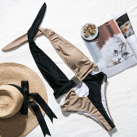 Maillot de bain de plage bikini couleur assortie sexy femme NHDE197729's discount tags