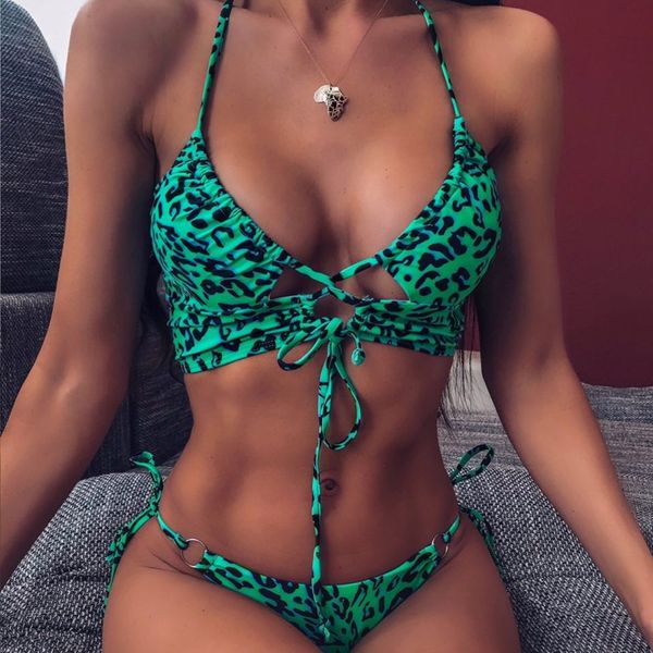 Sexy cutout leopard print swimsuit split bikini ladies wholesales fashion NHDE197796