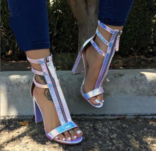 New Women's Shoes Roman Thick High Heel Snake Front Zip Women's Sandals NHSO197807