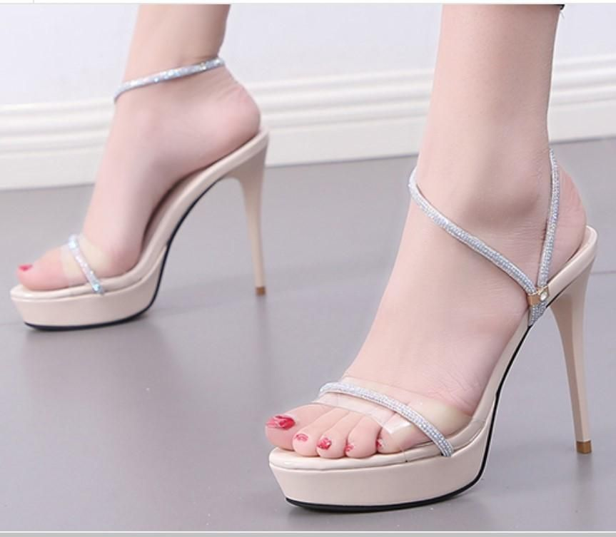 New women's shoes super high heel platform rhinestone open toe sandals NHSO197808