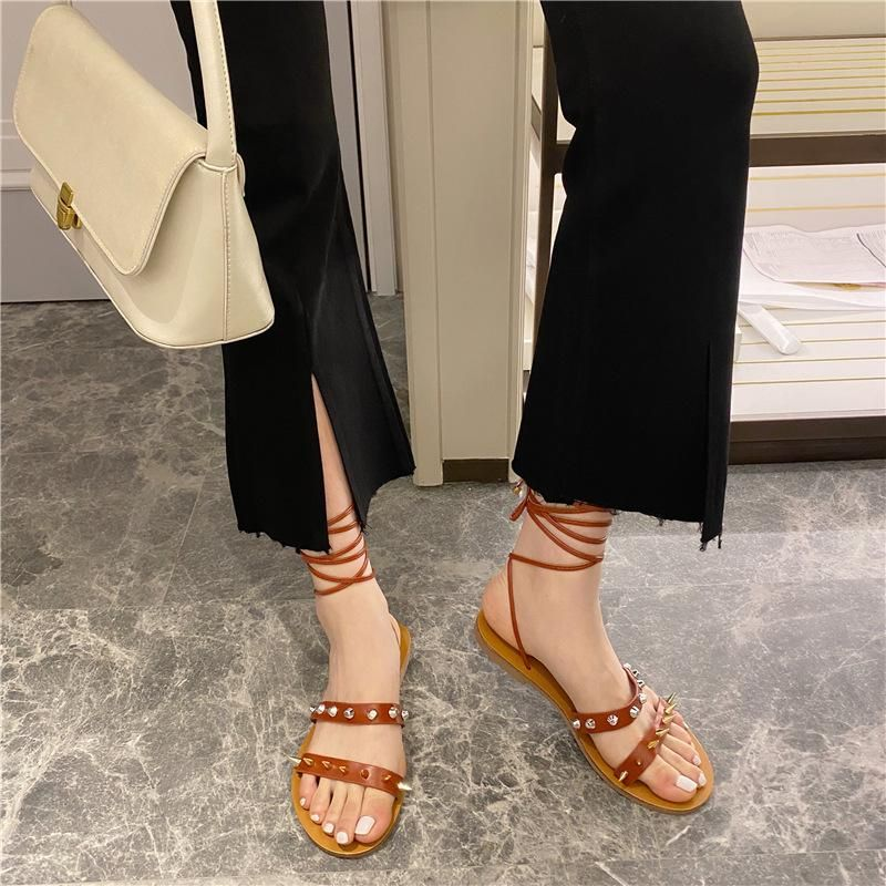 New Women's Shoes Studded Cross Strap Flat Open Toe Roman Sandals NHHU197831