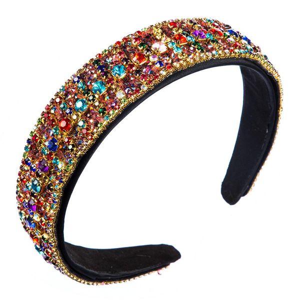 Moda de gama alta de fantasía de diamantes de colores creativos diadema de borde ancho mujeres NHLN197863