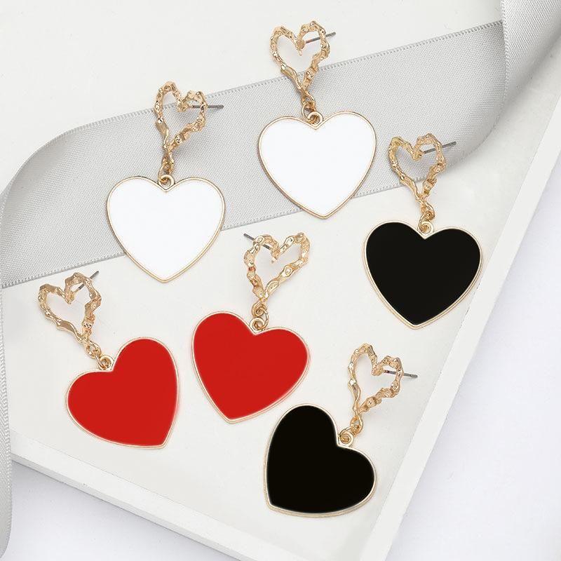 Fashion earrings multi-layer love heart-shaped oil drop retro earrings for women NHJE197866