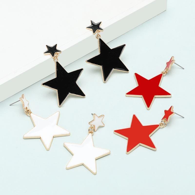 Fashion earrings multilayer pentagram oil drop geometric earrings for women NHJE197867