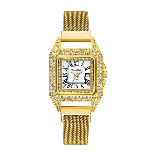 Fashion Diamond Magnet Band Ladies Watch Temperament Square Head Quartz Fashion Watch Rhinestone Ladies Watch NHSY197946
