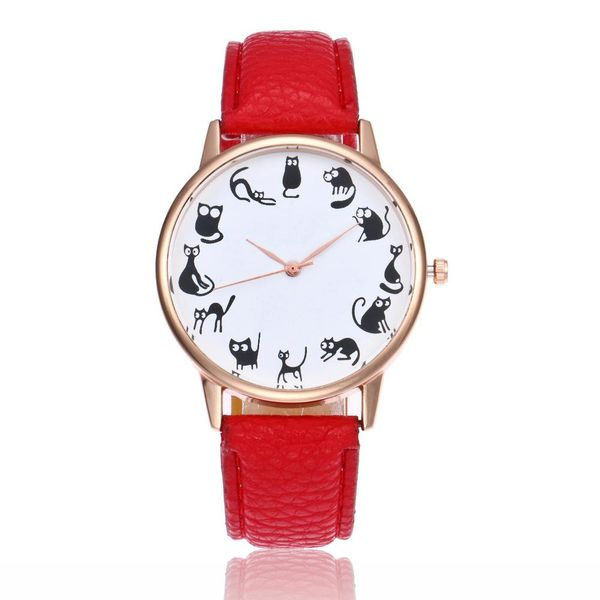 Fashion wild cute cartoon lazy cat pattern male and female students casual watches wholesale NHSY197949