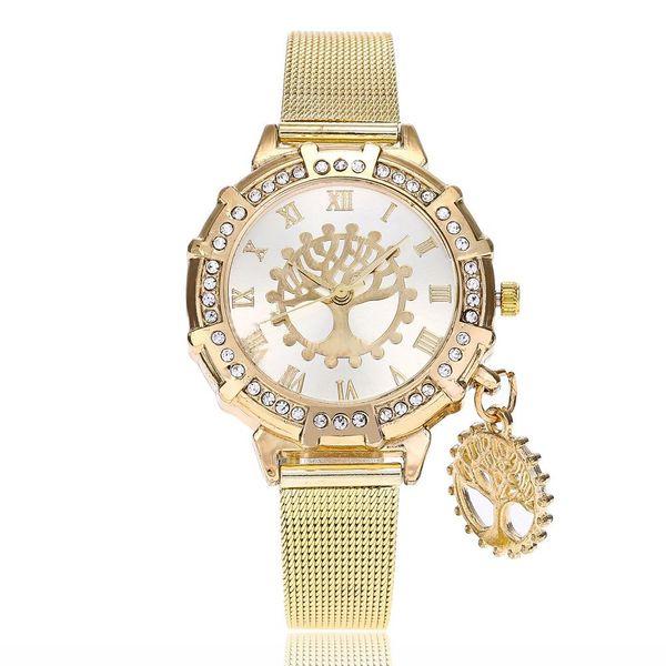 Women's Fashion Watch with Diamond Wish Tree Pendant Quartz Gold Mesh Watch NHSY197953