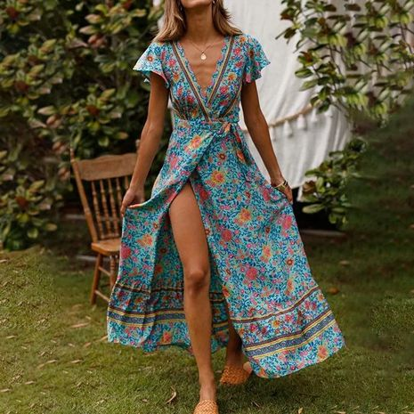 Spring new dress bohemian swing V-neck beach vacation lace print skirt NHDF197958's discount tags