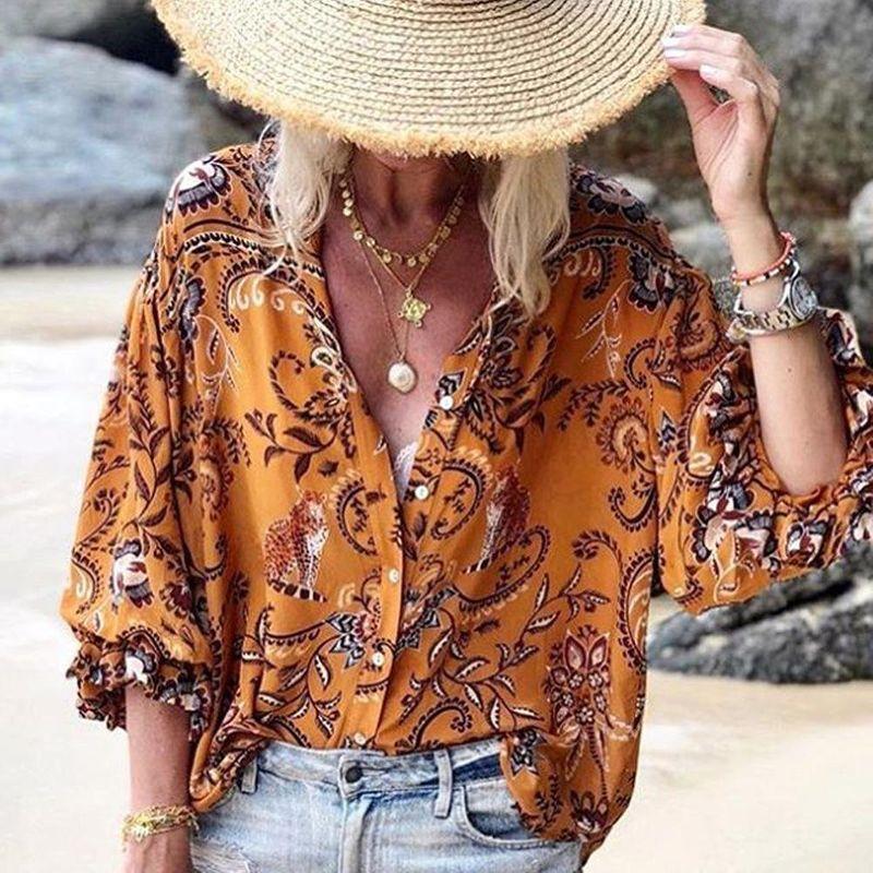 Ruffled long-sleeved shirt women's printed loose wild fashion single-breasted shirt NHDF197959