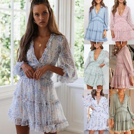 Fashion short dress female new ruffled V-neck floral cake skirt lantern sleeves NHDF197960's discount tags