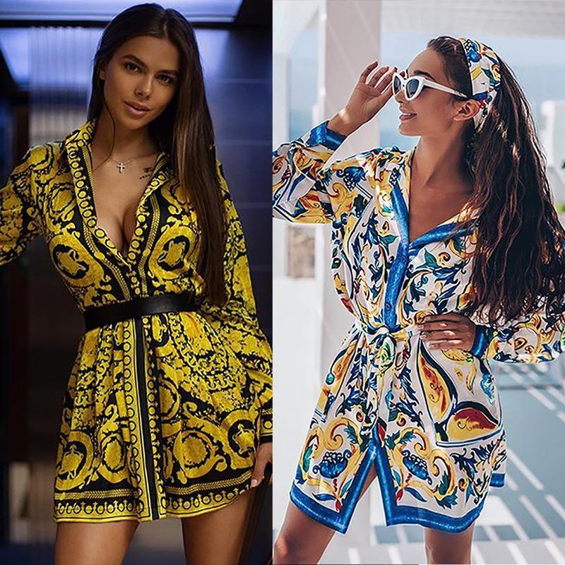 Spring and summer new boho positioning printing lace up long-sleeved shirt dress skirt NHDF197961