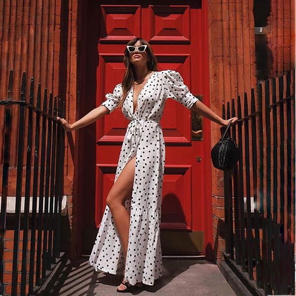 Bohemia spring and summer new listing new wave dot cardigan dress bag sleeve long short-sleeved skirt NHDF197962