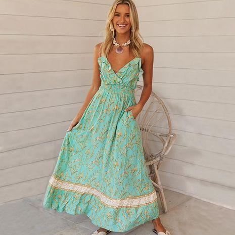 Nuevo vestido de honda con cuello en v con volantes y estampado bohemio NHDF197964's discount tags