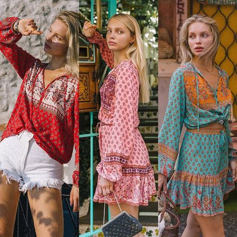 Boho Retro Print Lantern Long Sleeve Neck Lace Up A-Line Skirt Two Piece Set NHDF197970's discount tags