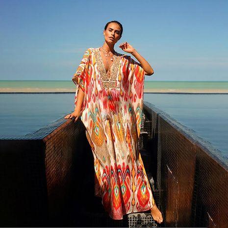 Vestido de bata suelta bohemio de vacaciones con cuello en V de manga media y estampado retro explosivo NHDF197974's discount tags