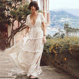 Mono bohemio con volantes y cuello en V floral para mujer NHDF197979