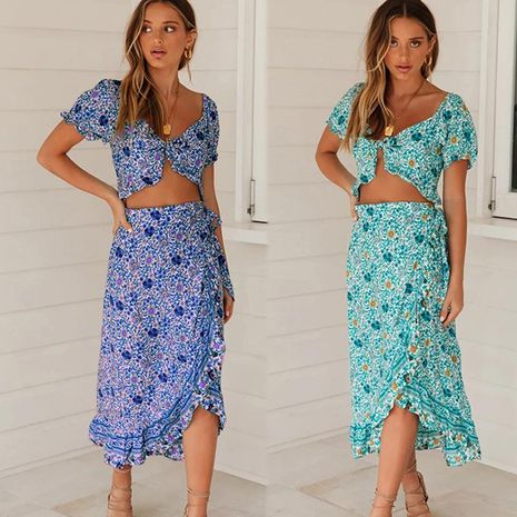 New Bohemian Vacation Style Irregular Skirt Short Navel Top Two Piece Set NHDF197983's discount tags