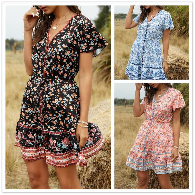 Spring and summer new beach skirt V-neck short sleeve bohemian female dress NHDF197985