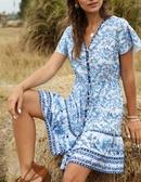 Spring and summer new beach skirt Vneck short sleeve bohemian female dress NHDF197985