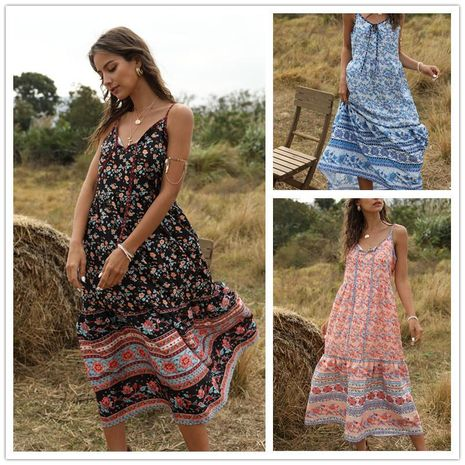 Bohemian Print Loose V-Neck Stitching Sling Dress NHDF197987's discount tags