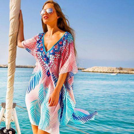 Nueva gasa con estampado de murciélago manga suelta bikini de playa ropa de abrigo protector solar top mujer NHDF197993's discount tags