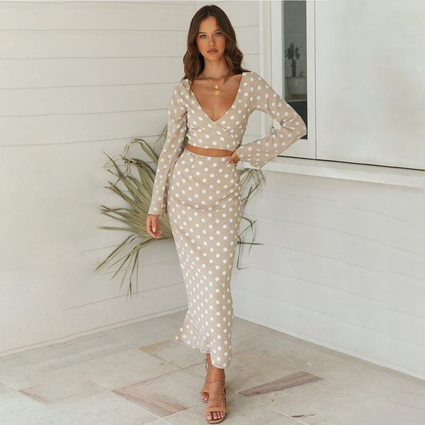 Polka Dot Suit Skirt Short V-neck Long Sleeve Top Slim Fishtail Skirt NHDF197994
