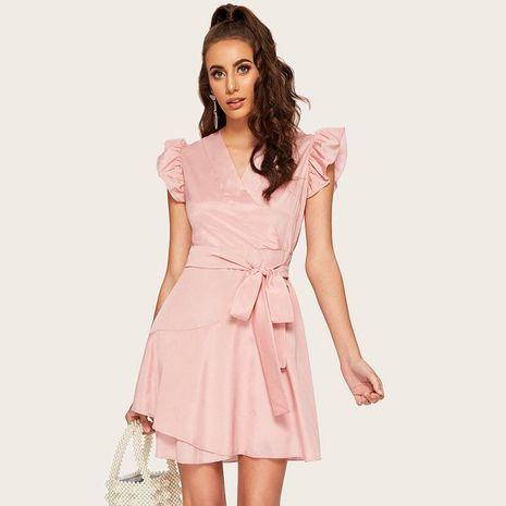 Vestido de falda de encaje de temperamento de diseño de diosa de manga de hoja de loto de sentido vestido rosa sólido NHDF198000's discount tags