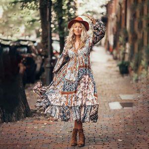 Vestido retro con costuras de estampado irregular bohemio para mujer NHDF198002