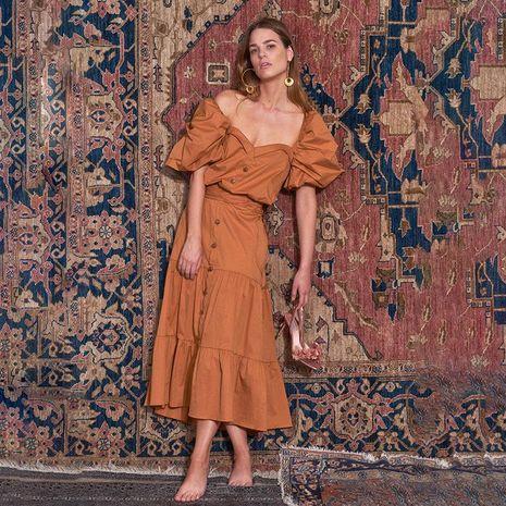 Vestido atractivo de la falda de la mujer de la manga de la linterna de la falda de las mujeres al por mayor NHDF198003's discount tags